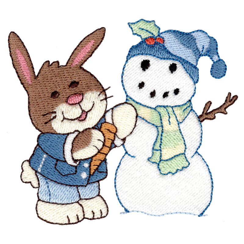 Bunny and Snowman - FreeEmbroideryDesigns.com