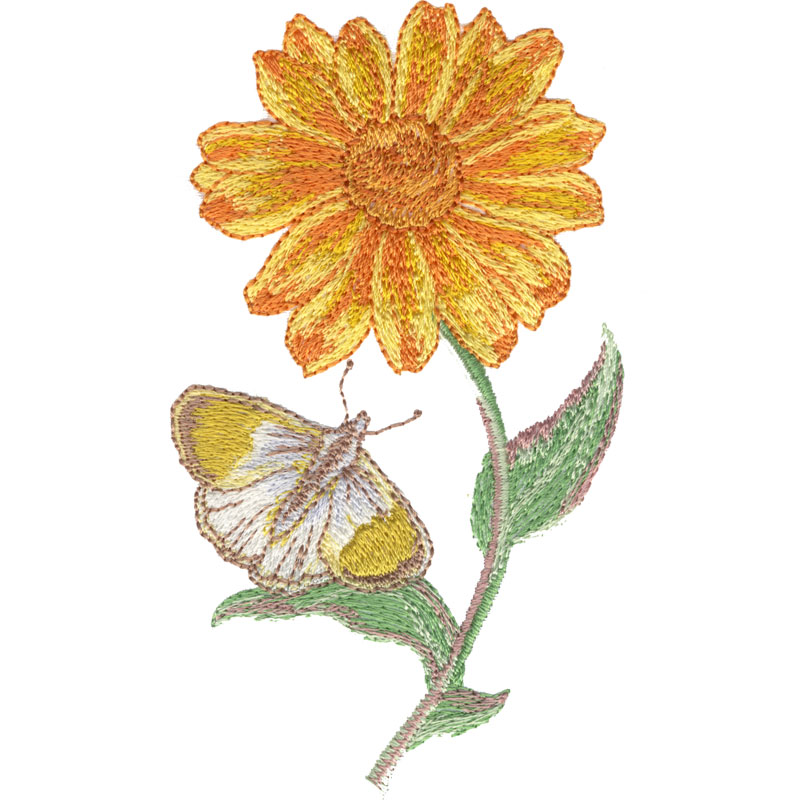 Flower And Butterfly  FreeEmbroideryDesigns